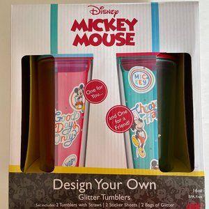 NIB- Mickey Mouse DIY Glitter Tumbler Set
